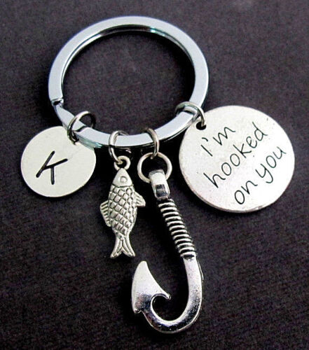 I am Hooked On You Kechain with Fish Hook and Cute Fish Charm,Boyfriend Key Ring