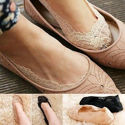 Women Lady Cotton Lace Antiskid Invisible Liner No Show Low Cut Cute Socks