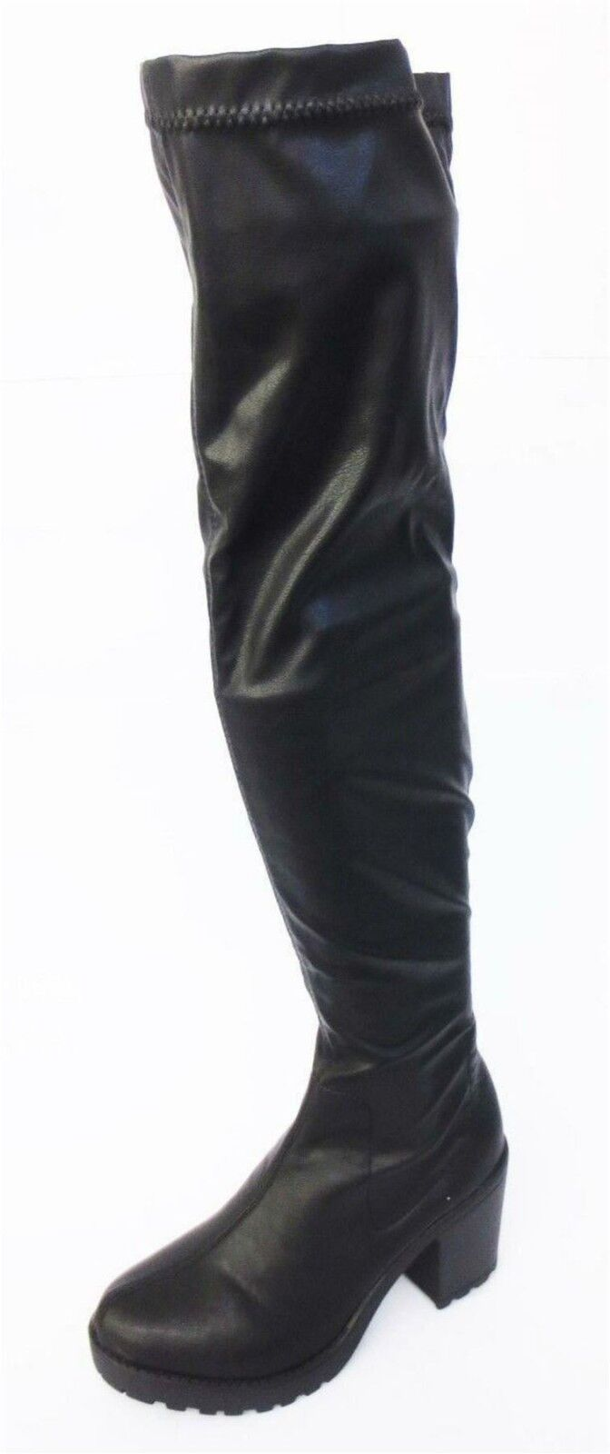 Ladies F50487 black knee high pu boots by SPOT ON Sale Now £19.99