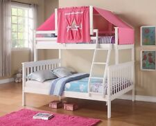 Twin over Full Girls Bunk Beds with Pink Tent