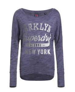 New Womens Superdry Maiden Slouch Top Navy Grit