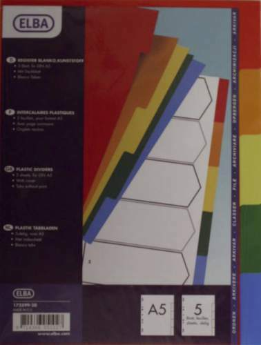 1x ELBA Register Trennblätter farbig A5 PVC 5 Blatt Ordner Einlagen Aufbewahrung