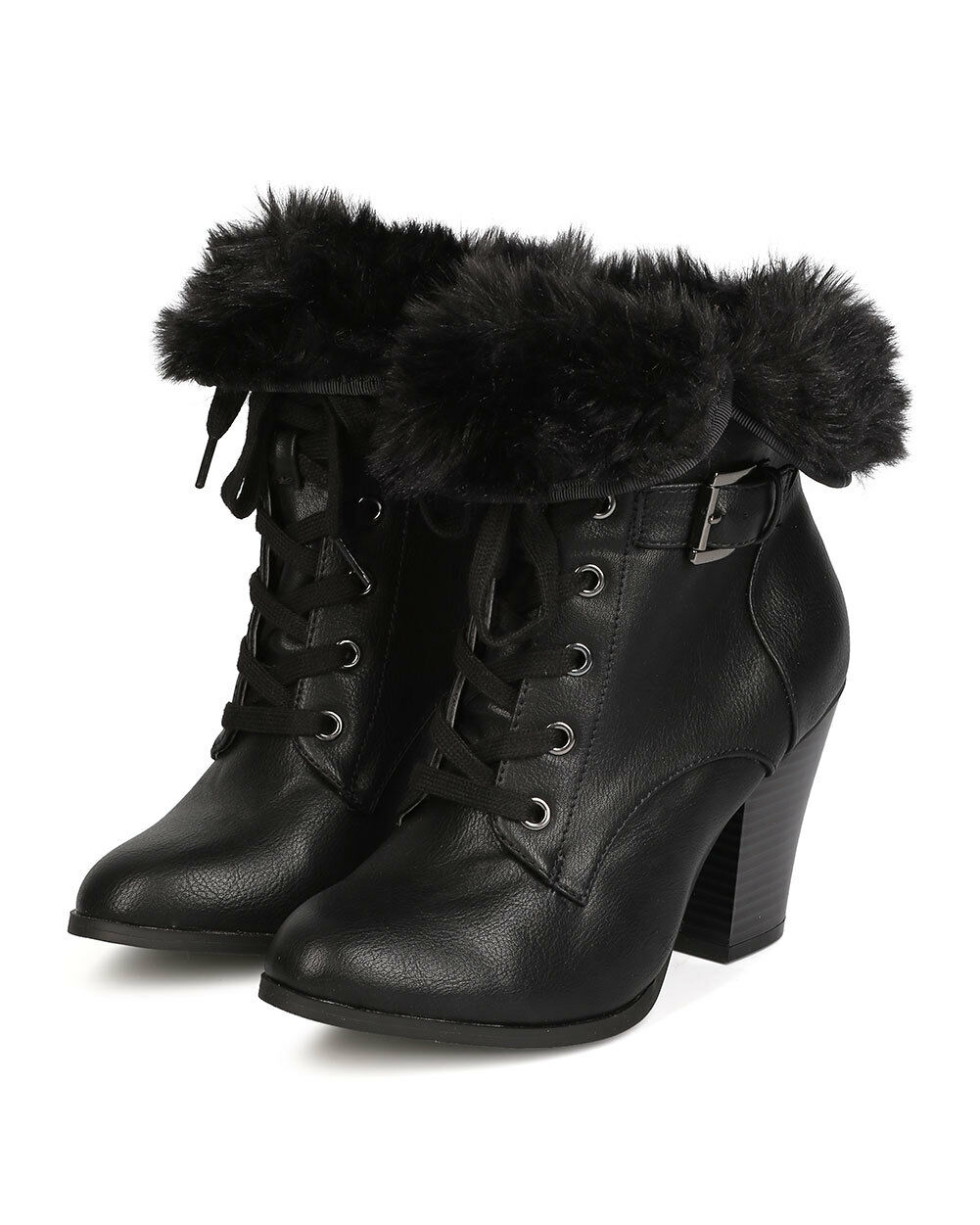 New Women Wild Diva Danielle-17 Leatherette Lace Up Fur Cuff Chunky Heel Bootie