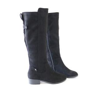 7692a754036 Hot Trend Vegan Suede Knee High Boots Flat Block Heel Black Pewter ...
