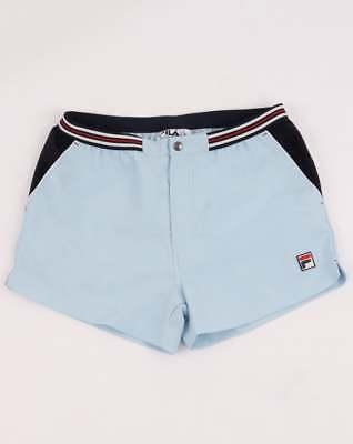 Willensstark Fila Vintage High Tide 4 Shorts In Sky Blue & Navy - Retro Tennis Shorts Elegantes Und Robustes Paket