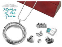 Mother Of The Groom Crystal 30mm Memory Locket Set, Floating Charms, Necklace