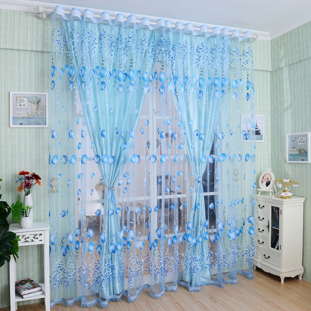 Floral Tulle Voile Door Window Curtain Drape Panel Sheer Scarf Valances DivideWH
