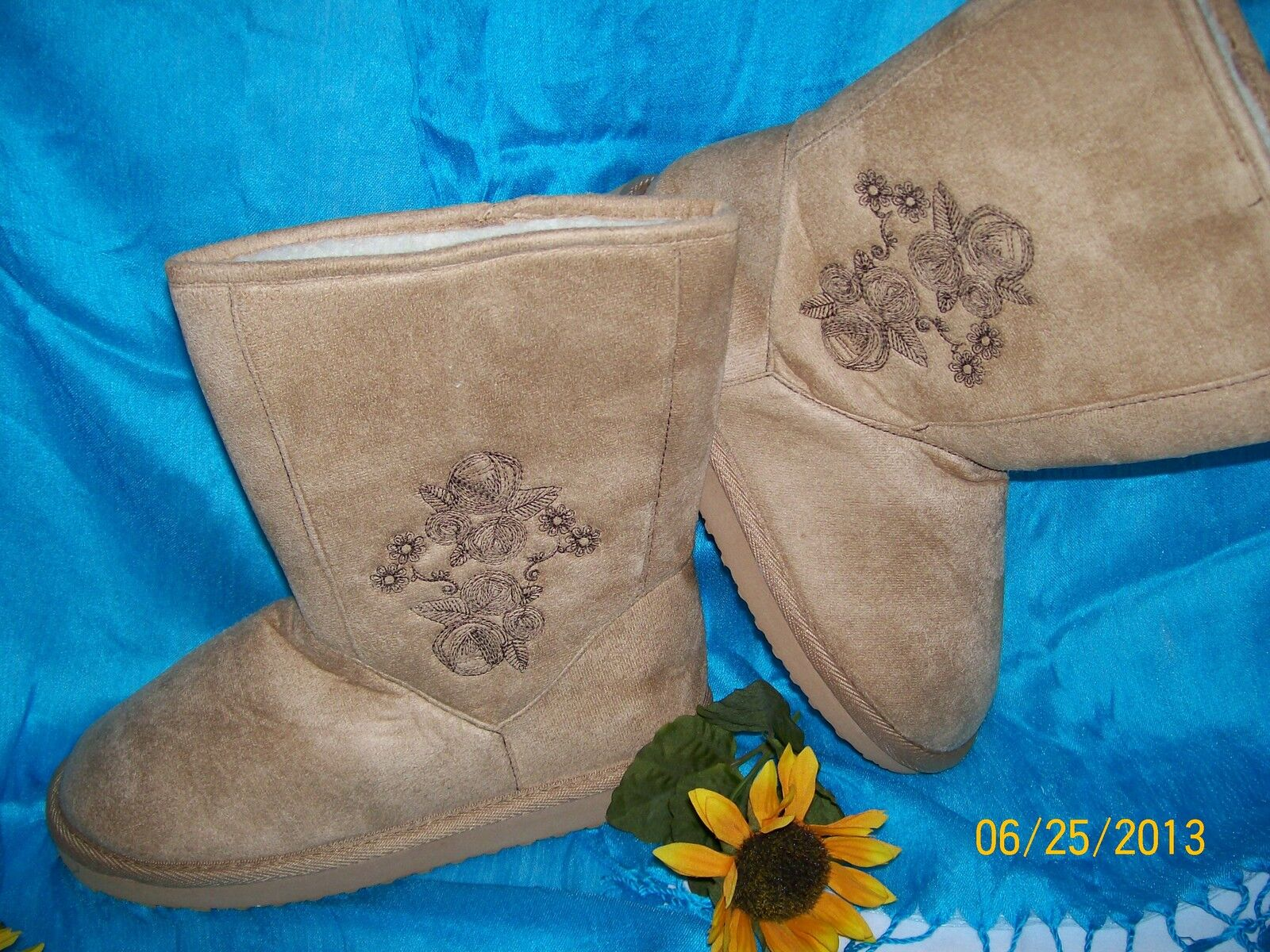 Faux Suede &amp; Shearling-Line<wbr/>d Embroidered Short Boots - Tan - Size 9