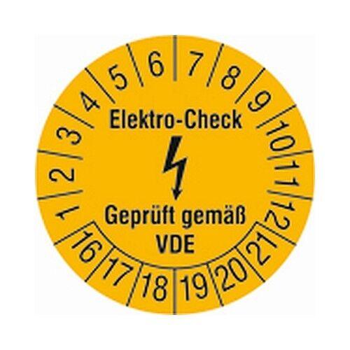 Prüfplakette Elektro-Check 16 Ø3cm 15 Stk// Bogen Geprüft gemäß VDE gelb-schwarz