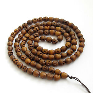 Tibet-Buddhist-108-Wood-Skull-Prayer-Beads-Mala-Necklace