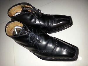 CALZOLERIA-HARRIS-Benchmade-ITALY-Norwegian-SplitToe-Black-Leather-Men-039-s