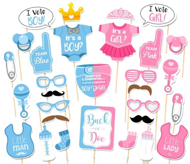 30pcs Baby Shower Gender Reveal Party Boy Or Girl Photo Booth Props