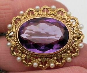 b596825afac97 Details about Antique 14K Gold ~ AMETHYST & SEED PEARL BROOCH ~ Edwardian  Pin