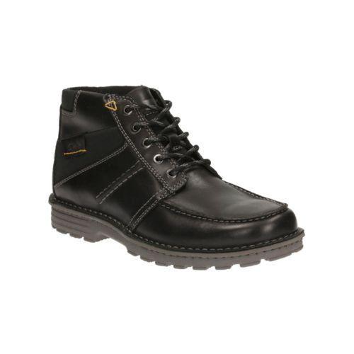Men's Clarks SAWTEL SUMMIT Black Leather Lace-Up Ankle Boots shoes
