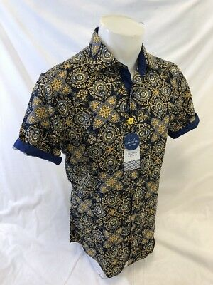 Mens Suslo Couture Short Sleeve Shirt Slim Fit Blue Brown Paisley Prints Button