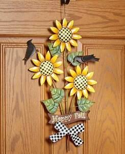 Details About Autumn Harvest Metal Sunflower Wall Art Crows Checkered Welcome Decor
