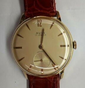 Orologio-AVIA-carica-manuale-laminato-oro-rimesso-a-nuovo-con-movimento-AS-113