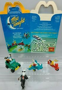 SET-of-SIX-McDONALD-039-S-MAC-TONIGHT-HAPPY-MEAL-TOYS-3-action-figures-and-2-ads