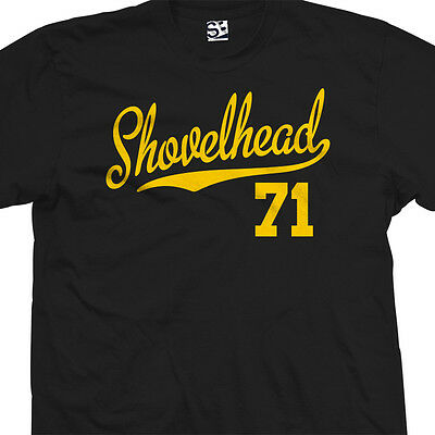 Shovelhead 71 Script Tail T-Shirt - 1971 Motorcycle Bobber Chopper - All Colors