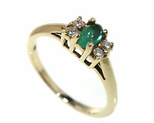 14kt-Yellow-Gold-Ring-with-Colombian-Emerald-Cabochon-Oval-and-Dia-Handmade-USA
