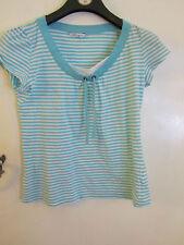 Turquoise Blue & White Stripe M&S Petite Size 12 T-Shirt Style Top