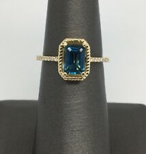 14k Yellow Gold Emerald Shape Natural London Blue Topaz and Diamond Halo Ring