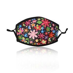 Ladies-Pink-Flower-Cotton-Face-Mask-Washable-Reusable-Adjustable-Double-Layer