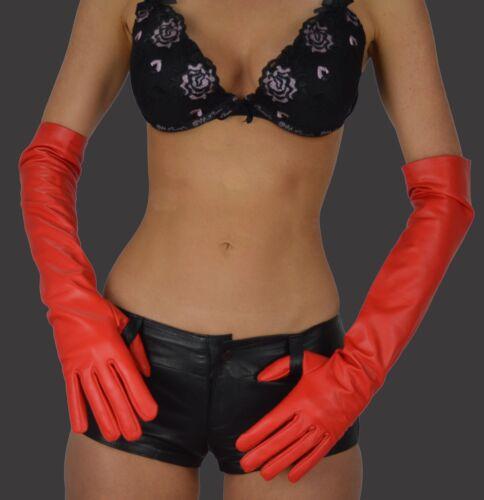 awanstar Leder Handschuhe Damen Lange Lederhandschuhe Oper women Long Gloves Red