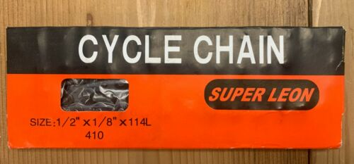 "SUPERLEON 1//2/""x1//8/"" 114L BMX TRACK SINGLE SPEED BIKE CHAIN WITH MASTER LINK."