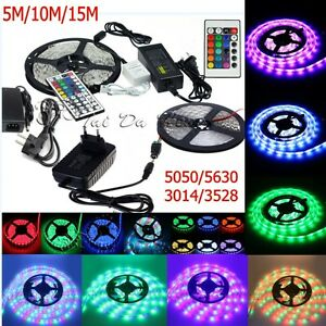 5M-10M-15M-3528-5050-5630-3014-RGB-SMD-Flexible-Light-LED-Strip-Power-Remote