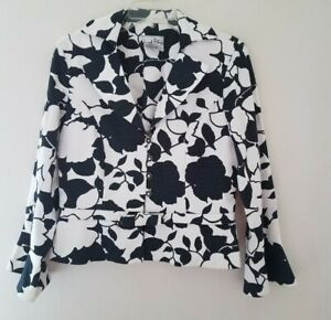 Joseph-Ribkoff-Black-amp-White-Floral-Jacket-Button-Front-Long-Sleeve-Size-12