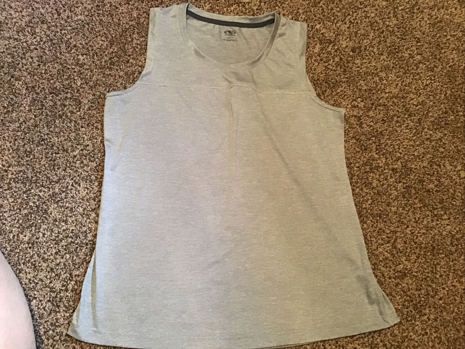 ATHLETIC WORKS Women's Tank Top Size L (12-14) Gray Running Gym Workout Casual