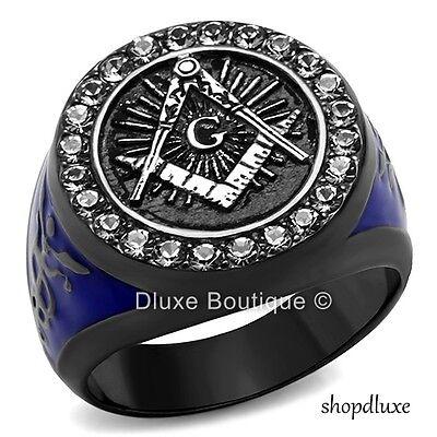 Men's Blue & Black Stainless Steel AAA CZ Masonic Freemason Ring Band Size 8-13
