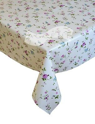 LILAC MAUVE FLORAL HEARTS PVC VINYL TABLE CLOTH WOODEN LOOK BUTTONS LOVE NEW