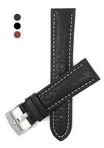 Leather-Watch-Strap-Band-18mm-20-22-24-26-28-30mm-Black-Brown-Tan-White-Stitch