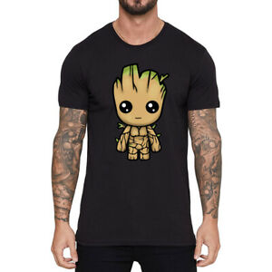 Guardians-of-Galaxy-I-AM-GROOT-funny-T-shirt-Men-039-s-Cotton-Short-Sleeve-Tops-Tee