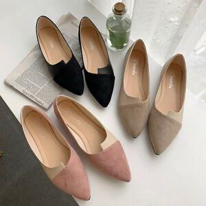 Fashion-Women-Flat-Slip-On-Splice-Color-Flats-Pointed-Toe-Ballerina-Ballet-Shoes