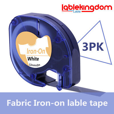 3 pack compatible for Dymo LetraTag 18771 18769 18768 Iron-On fabric label tape.