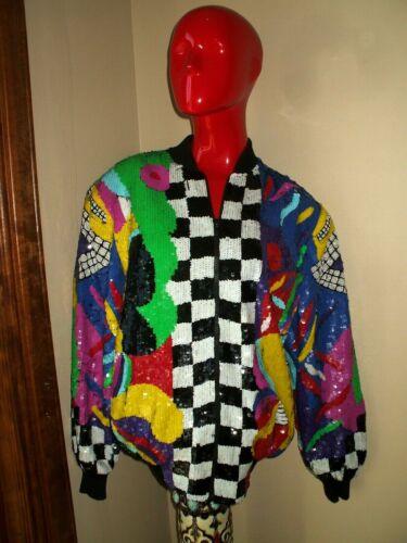Vintage 80s Abstract Sequin Jacket Coat Top Jewel