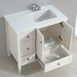 Simpli Home Chelsea Right Offset Bath Vanity 36 Inch Soft White Ebay