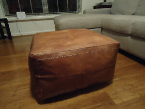 Astounding Details About New Antique Tan Leather Ottoman Or Footstool Inzonedesignstudio Interior Chair Design Inzonedesignstudiocom