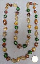 Collier à 2 rangs de perles de verre berlingot Vers 1970 Murano