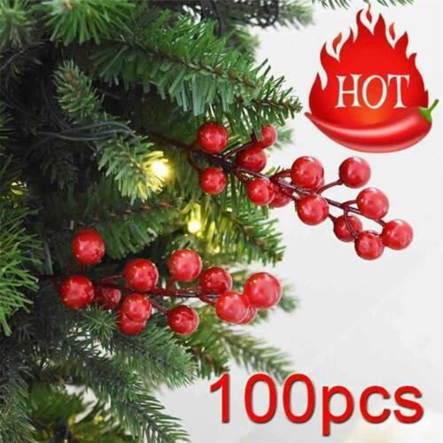100Pcs Artificial Red Holly Berry Ornament DIY Craft Accessories Christmas Decor