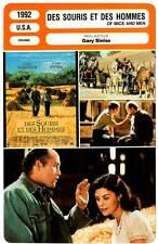 DES SOURIS ET DES HOMMES - Malkovich,Sinise(Fiche Cinéma) 1992 - Of Mice and Men