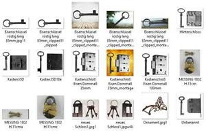 Einsteckschloß Schlüssel Schließblech Restaurierungsbedarf Vintag Möbelschloß 30