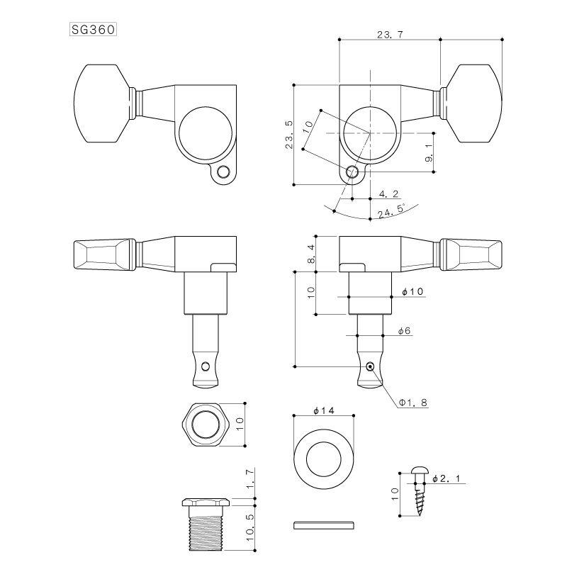 Gotoh Sg360 07 3x3 Mini Tuners Tuning Keys 16 1 Ratio