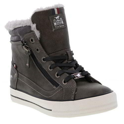 Mustang da DONNA HI TOP Brown Grey Vegan   Da Da  Ginnastica in Pelle Stivali   4-7.5 e11301