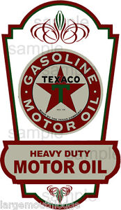 8 INCH TEXACO RACING CHECKERED FLAG GASOLINE OIL DECAL STICKER