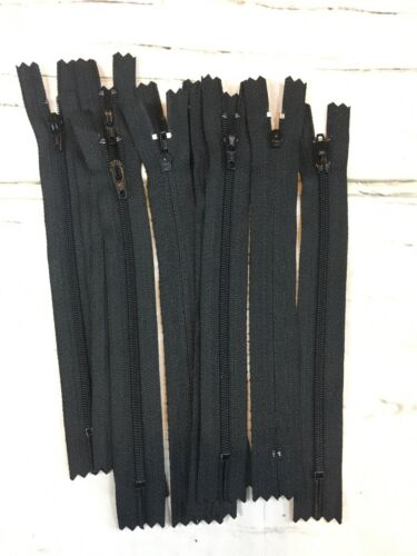 NEW YKK Coil Zipper 10 Pack 7 inch length Black 580