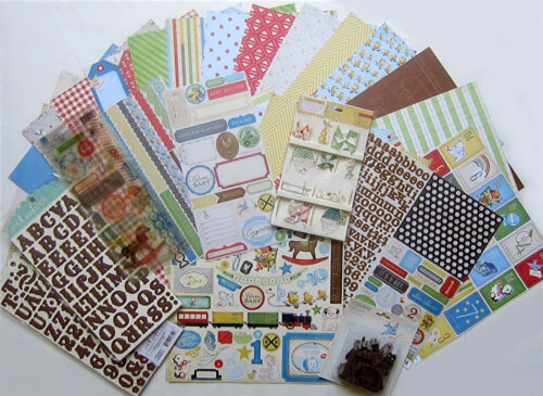 - Save 55/% Vintage Baby Paper /& Embellishment Crate Paper E Little Boy Blue